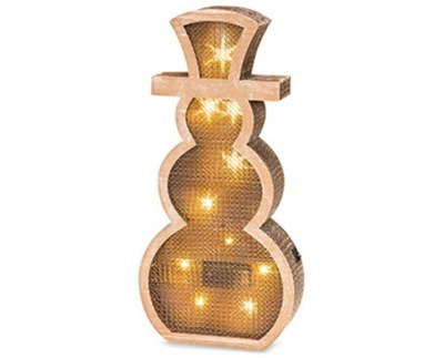 Vianočné osvetlenie - EKO SNEHULIAK z kartónu 10 hologram LED 2AA 45 cm
