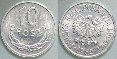 ПНР, 10 КОПЕЕК 1985., AL., mennicze с ролики , 1 /1 -