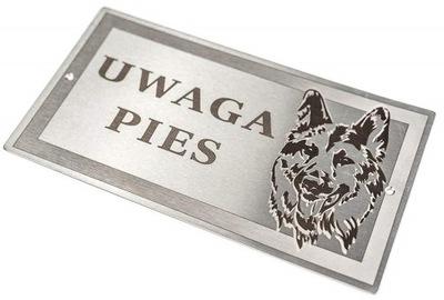 Табличка ПРИМЕЧАНИЕ Собака - Нержавеющая сталь Стали лазерный