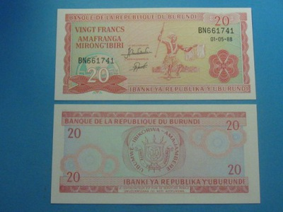 Бурунди 20 Francs 1988 !! P-27b UNC Реже rocz !