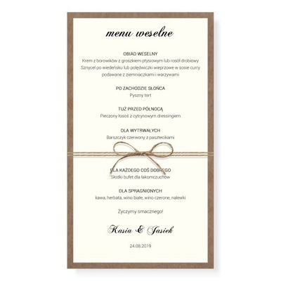 Menu weselne MINIMAL RUSTIC karta dań na ŚLUB eko