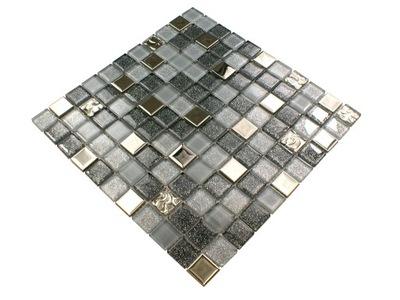 Мозаика стеклянная серебряная серая глянцевая SOFT GREY