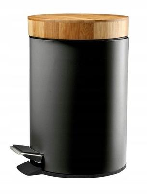 Kosz na śmieci łazienkowy 3l metal bambus czarny