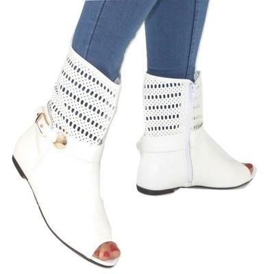 Białe buty botki ażurowe stylowe buty damskie 38