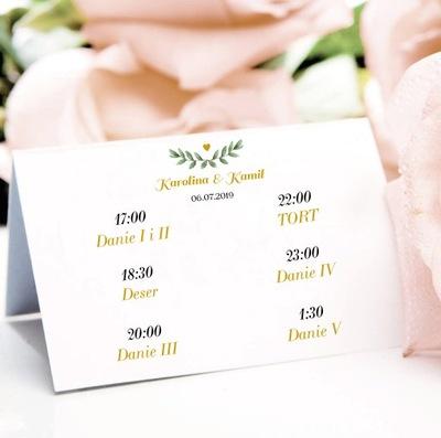 Menu weselne na stół, dania na wesele, dwustronne