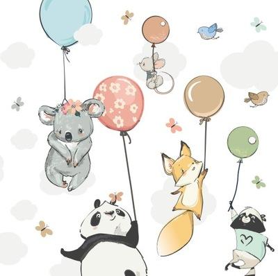 Samolepky na stenu pre deti BALÓN zvieratá