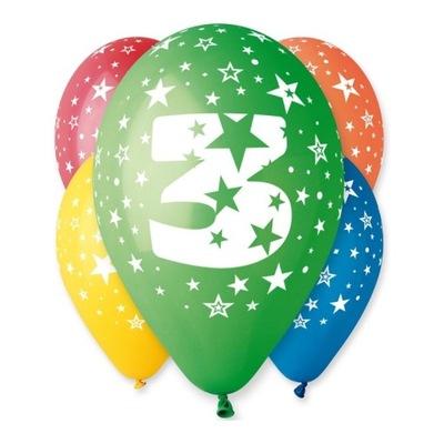 Воздушные шары на день Рождения с рисунком -Циферка № 3 - 5  штук .