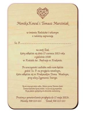Drewniane zaproszenia ślubne koperta eko gratis