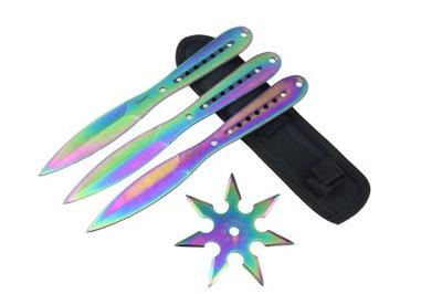 Nóż rzutka SHURIKEN tęczowy zestaw do rzucania
