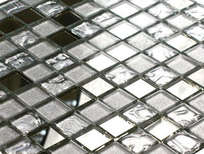 Мозаика стеклянная серебряная MIRROR микс + блеск зеркала