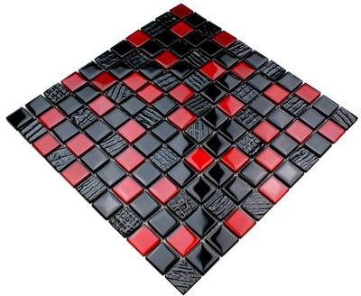 Мозаика СТЕКЛО красная , черная Вулкан FUEGO