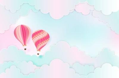 Настенные фрески для детей 3d ?? размер , воздушные шары, облака