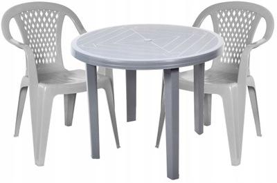 Серый комплект 2 стулья +1 стол пластиковый OGRĄGŁY