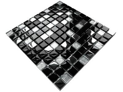 Мозаика СТЕКЛЯННАЯ BLACK LAKE СЕРЕБРЯНАЯ черная Хром
