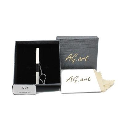 Srebrna spinka do krawata pr.925 zestaw prezentowy