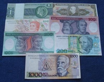 ZESTAW BANKNOTÓW BRAZYLIA !!! UNC !!! KOMPLET