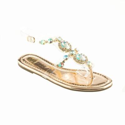 Lu boo złote sandały japonki meliski lustrzane 37 Galeria