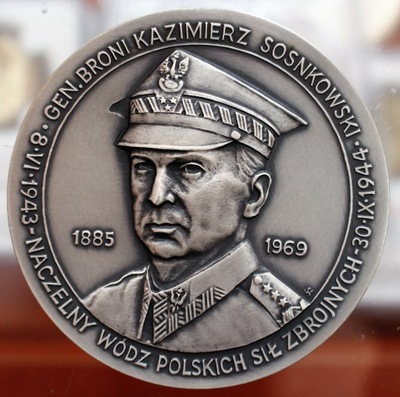 Медаль ГЕНЕРАЛ главнокомандующий генерал соснковский КАЗИМИР AG ТИРАЖ 30ШТ