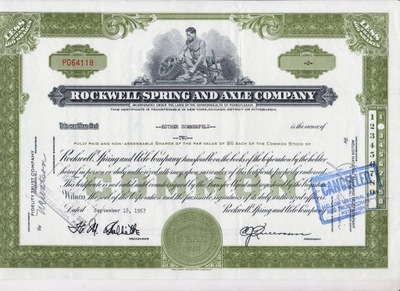 Rockwell Spring & Axle Co 1957 года 2 доли