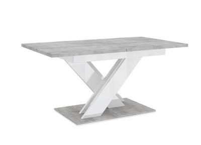 стол раскладной 140-180 бетон /Белый блеск 7 ДНЕЙ