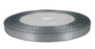 Лента атласная сатиновая 6мм /22m серебряная