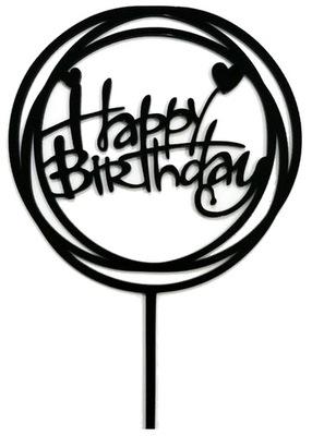 Tooper круглый Happy Birthday Черный акриловый