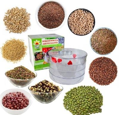 KIEŁKOWNICA 3 ЧАШКИ + 10 упаковок семян - РОСТКИ