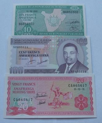 ZESTAW BANKNOTÓW BURUNDI - Z PACZKI BANKOWEJ
