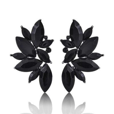 серьги крылья wings кристаллики черные