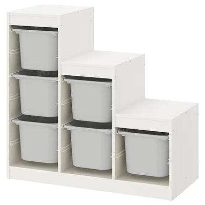 Икеа ТРУФАСТ стеллаж Белый + 6 контейнеров Серый