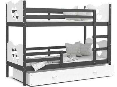 Poschodová posteľ 200x90 MAX sivá biela + matrac