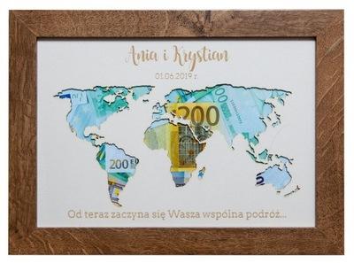 Ramka pieniądze mapa koperta prezent ślub 21x30
