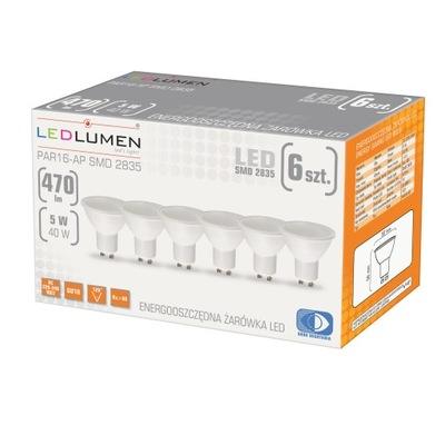 комплект 6x Лампа GU10 5W=40W LED 470lm LEDLUMEN