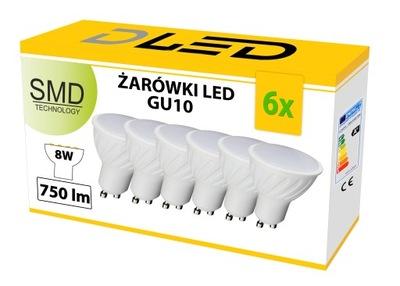 6x Лампа LED GU10 2835 SMD 8W 750lm 230 галоген