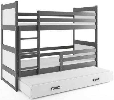 Łóżko Rico dla dzieci 190x80 piętrowe 3 osobowe