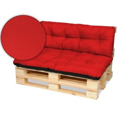 Подушки на мебель из поддонов скамейка 120х80+120x40 красные