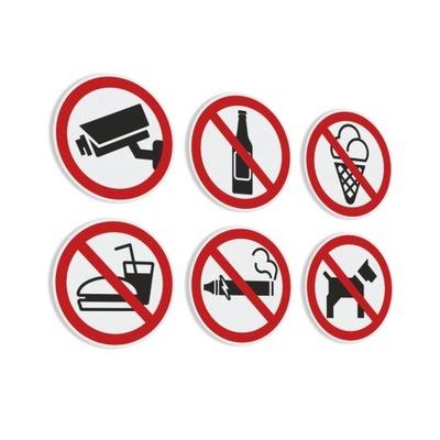 Naklejki - 6szt. 10x10 - Monitoring, Zakaz Palenia