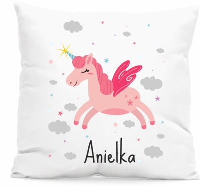 Poduszka unicorn JEDNOROŻEC urodziny z IMIENIEM