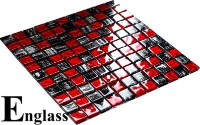 Mozaika szklana czarno-czerwona RED TIGER ENGLASS
