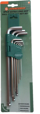 JONNESWAY Kľúče, imbusy veľké 1.5 mm-10 mm loptu