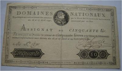 Francja 50 Liwrów 29.09.1790 RZADKO SPOTYKANY RRR