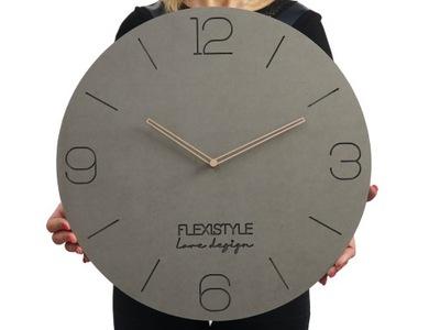 Duży drewniany zegar ścienny szary ECO natural50cm