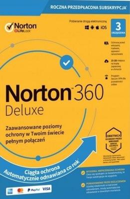NORTON 360 DELUXE 3 PC 1 ROK + 25GB + Secure VPN