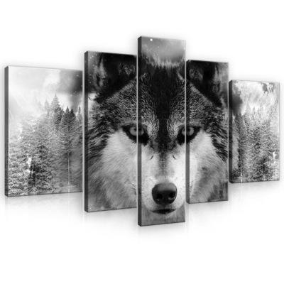 Изображение ??? гостиную ВОЛК животные триптих 3D 170x100