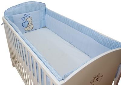 Протектор вокруг кроватки 60x120 сердце Синий