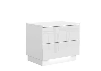 КОМОД ТУМБОЧКА Белый блеск 2 ящик + LED