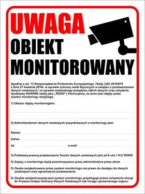 TABLICA MONITORING RODO TEREN OBIEKT MONITOROWANY