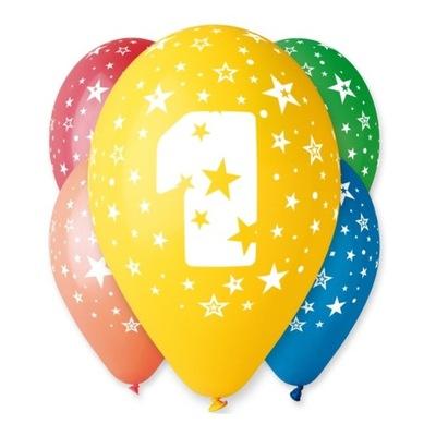 Воздушные шары на день Рождения с рисунком -Циферка № 1 - 5  штук .