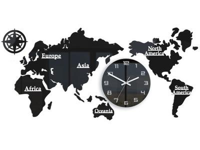 Zegar ścienny WORLD Mapa Świata 110 X 55 cm