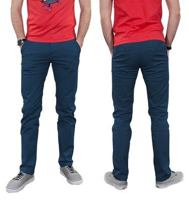 Spodnie męskie bawełniane CHINOSY JOY 86 cm granat